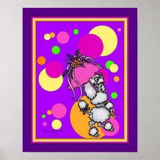 Purple Polk-a-dot Poodle Poster