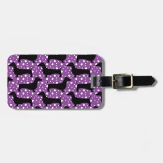 Purple Polka Dachshunds Tag For Bags