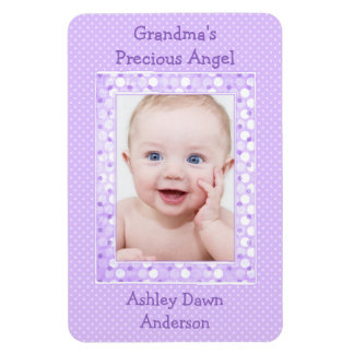 Purple Polka Dot Baby Photo Template Magnet