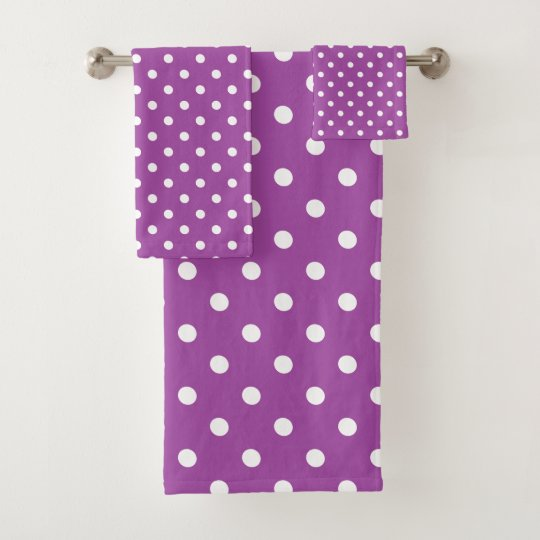 Purple Polka Dot Bath Towel Set