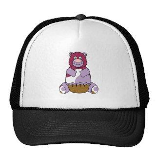 Purple Polka Dot Bear Trucker Hat