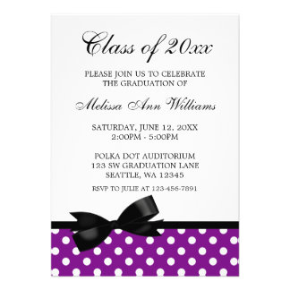Purple Polka Dot Black Bow Graduation Announcement
