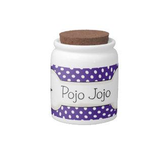 Purple Polka Dot Bone Pet Treat Jar Candy Jars