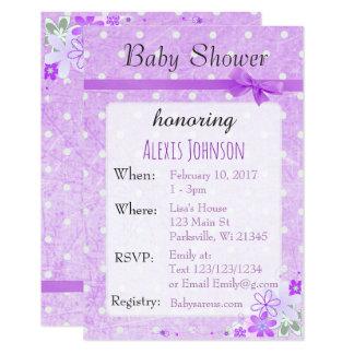 Purple  Polka Dot Bow Girl Baby Shower Invitations