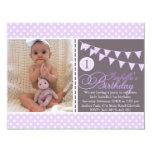 Purple Polka Dot Bunting First Birthday Invite