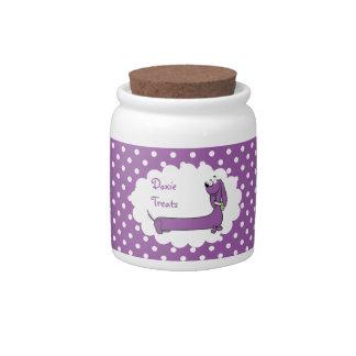 Purple Polka Dot Cartoon Doxie Treat Jar Candy Jar