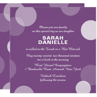 Purple Polka Dot Confetti Bat Mitzvah Invitation