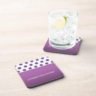 Purple Polka Dot Congratulations Beverage Coaster