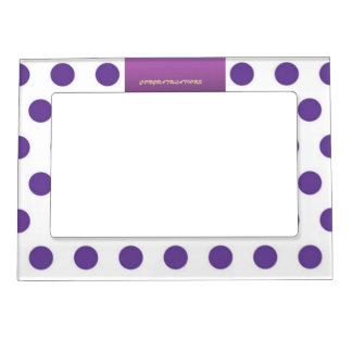 Purple Polka Dot Congratulations Magentic Frame Picture Frame Magnets