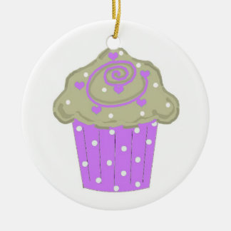 Purple Polka Dot Cupcake Double-Sided Ceramic Round Christmas Ornament