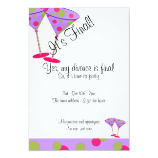 Purple Polka Dot Divorce Party Invitation