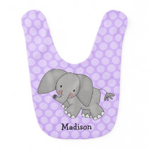 Purple Polka Dot Elephant Personalized Baby Bib