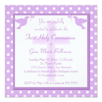 Purple Polka Dot First Holy Communion Invitation