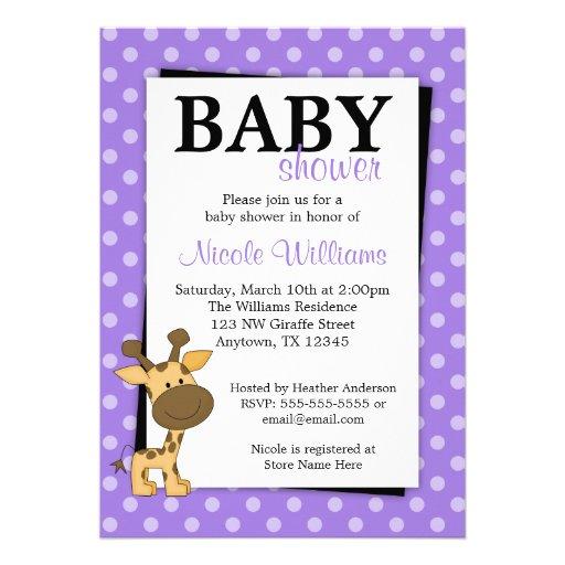 purple polka dot giraffe baby shower invitations zazzle