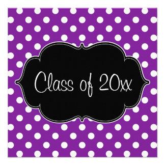 Purple Polka Dot Graduation Announcement