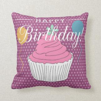 Purple Polka Dot Happy Birthday Cupcake & Balloons Pillow