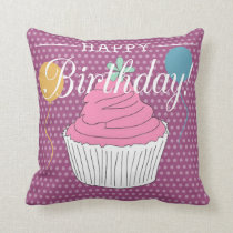 Purple Polka Dot Happy Birthday Cupcake & Balloons Throw Pillow