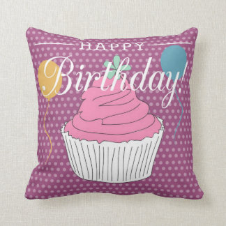 Purple Polka Dot Happy Birthday Cupcake & Balloons Throw Pillow