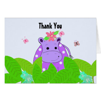 Purple Polka Dot Hippo Thank You Greeting Cards