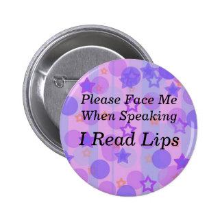 Purple Polka Dot I Read Lips Button