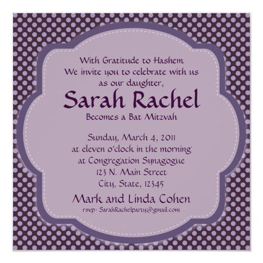 Purple polka dot Invitation