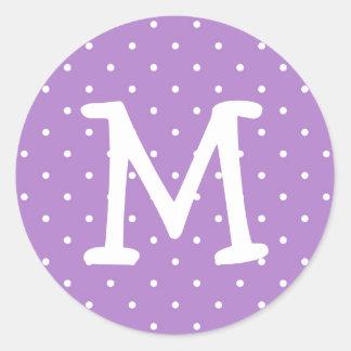 Purple polka dot kiddo monogram letter custom stickers