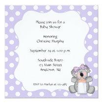 Purple Polka Dot Koala Bear Invitation