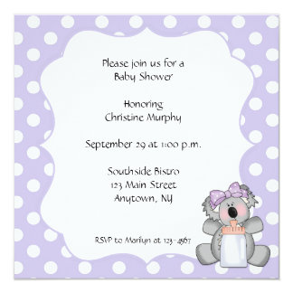 Purple Polka Dot Koala Bear Invitation