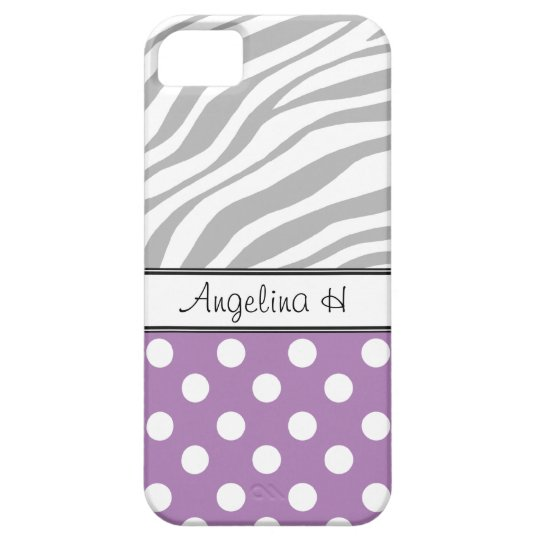 Purple Polka Dot Light Zebra Print iPhone 5 Case