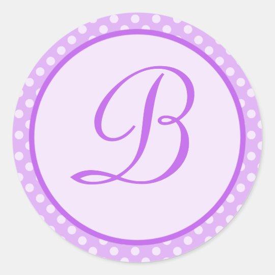 Purple Polka Dot Monogram Initial Sticker