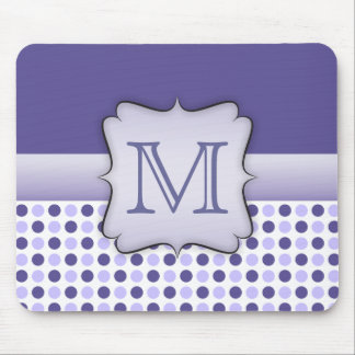 Purple Polka Dot Monogram Mousepad