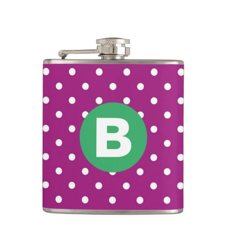 Purple Polka Dot Pattern Green Monogram Flask