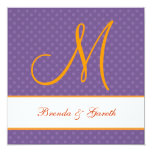 "Purple Polka Dot Pattern Monogram Wedding Z209 5.25"" Square Invitation Card"