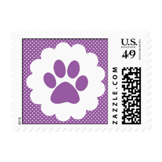 Purple Polka Dot Paw Print Postage Stamp