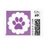 Purple Polka Dot Paw Print Postage Stamps