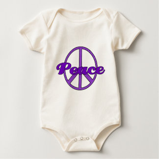 Purple Polka Dot Peace Symbol Baby Bodysuit