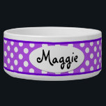 "Purple Polka Dot Personalized Ceramic Dog Bowl<br><div class=""desc"">This custom Purple and White Polka Dots Pattern Personalized Ceramic Dog Bowl is a cute choice for a large dog. This cool and unique polkadot dog bowl makes a charming gift for your very best friend.</div>"