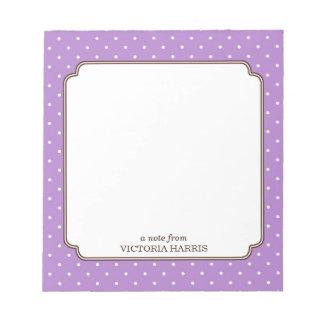 Purple polka dot personalized girly cute notepad