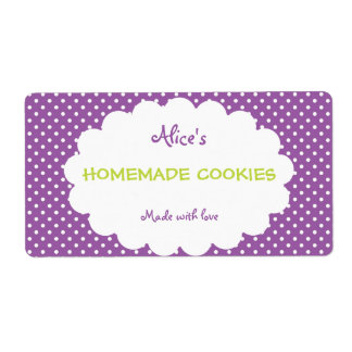 Purple Polka Dot Personalized Homemade Cookies Shipping Label