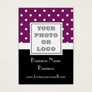 Purple polka dot  photo logo business card