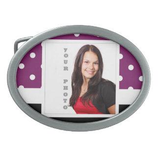 Purple polka dot photo template belt buckle