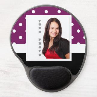 Purple polka dot photo template gel mouse pad