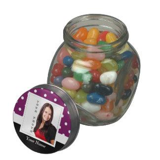 Purple polka dot photo template glass candy jars