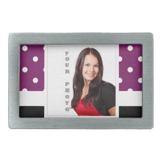 Purple polka dot photo template rectangular belt buckle