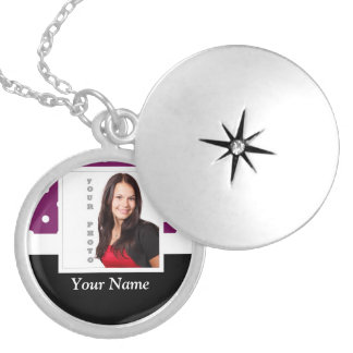 Purple polka dot photo template silver plated necklace