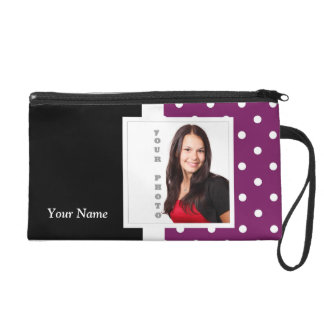 Purple polka dot photo template wristlet purse