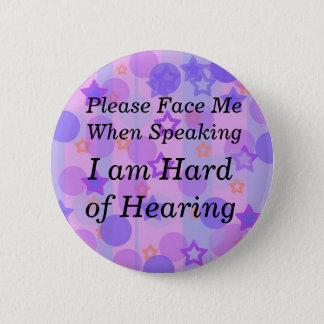 Purple Polka Dot Please Face Me Button