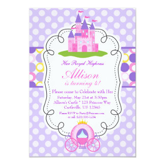 Purple Polka Dot Princess Birthday Party Card