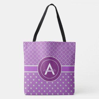 Purple Polka Dot Quatrefoil Tote Bag