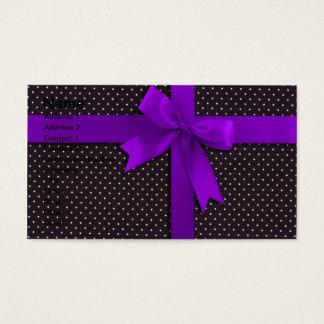Purple Polka Dot Ribbon Business Card